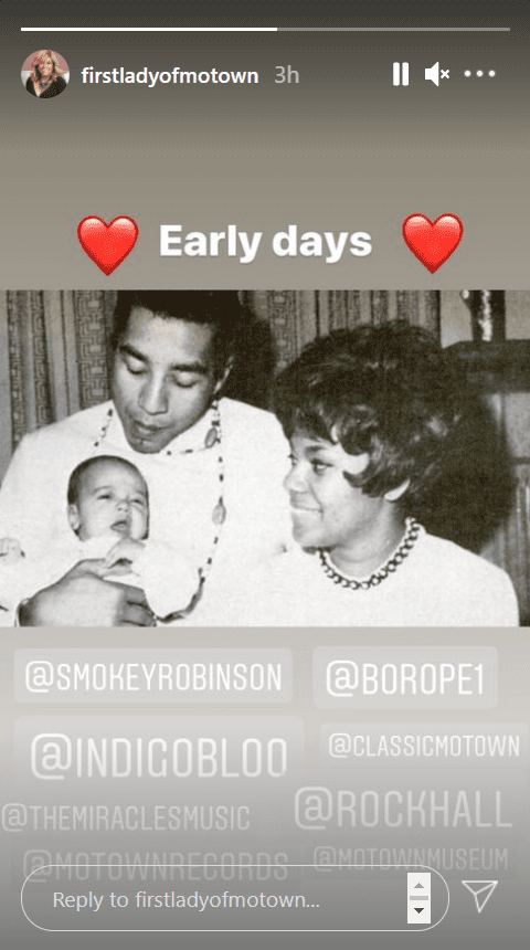 Screenshot of Claudette Robinson's Insta story from January 22, 2021. | Source: Instagram/firstladyofmowtown
