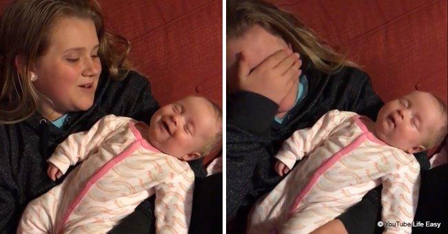 La petite Allie âgée de 9 ans a fondu en larmes après avoir réalisé que sa voix faisait sourire sa petite sœur