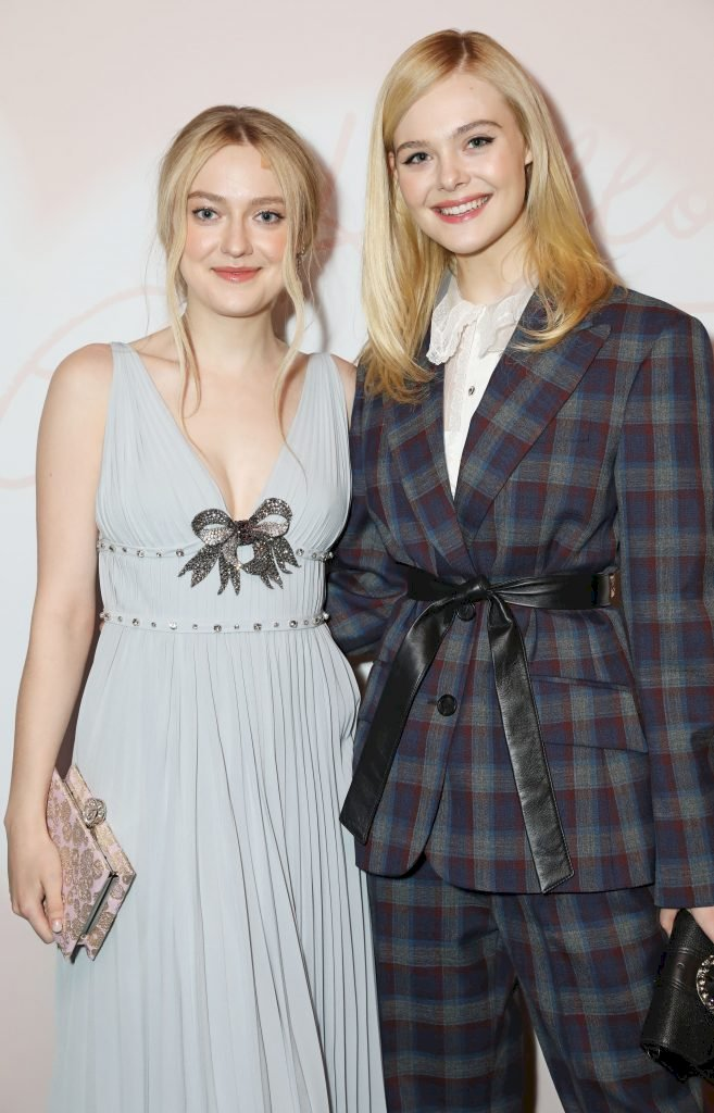 LONDON, ENGLAND - FEBRUARY 19: Dakota Fanning (L) and Elle Fanning attend the Miu Miu Women's Tales # 15 Screening at The Curzon Mayfair on February 19, 2018 in London, England. (Photo by David M. Benett/Dave Benett/Getty Images for Miu Miu)