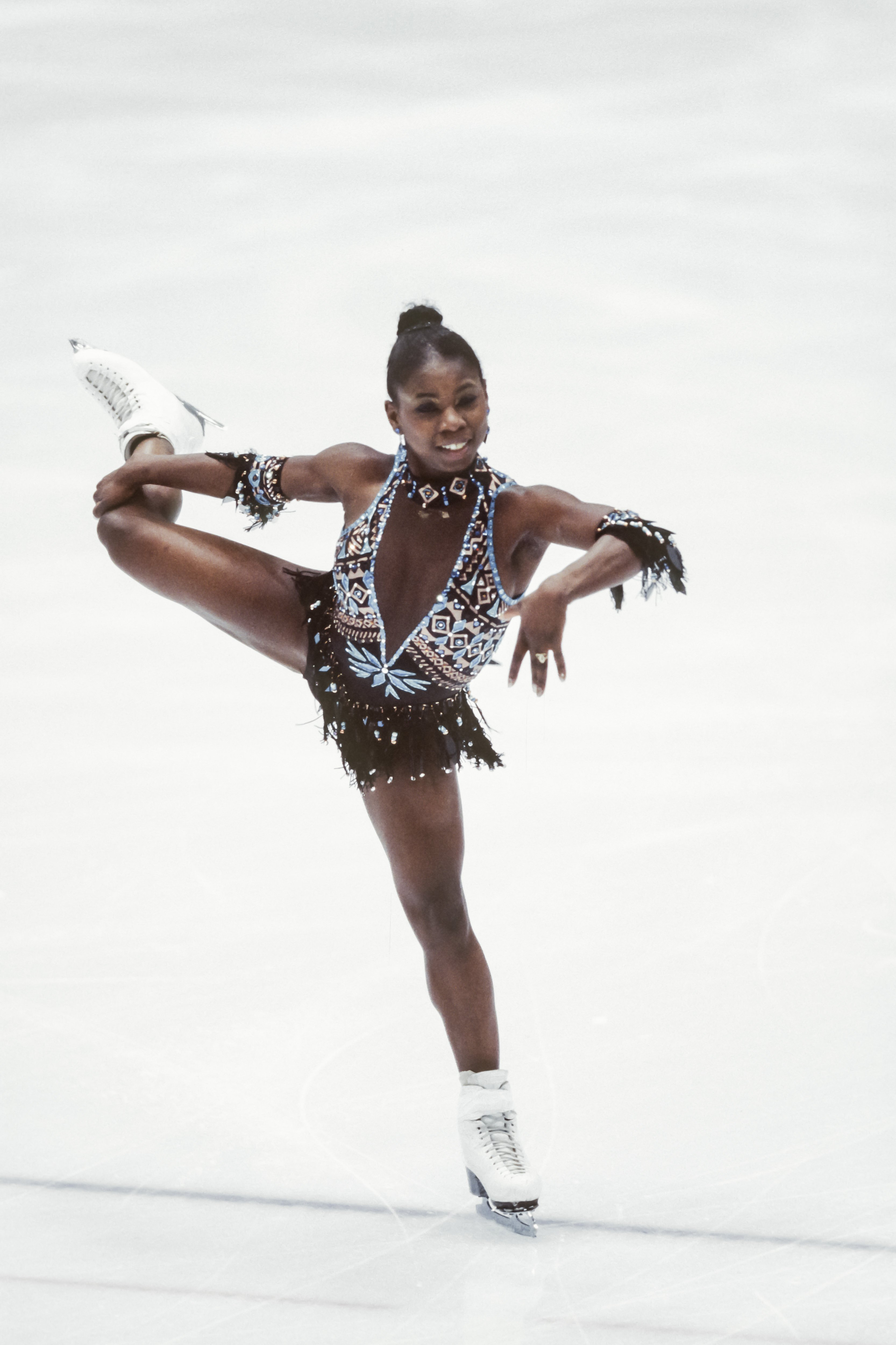 Surya Bonaly of France skates her short program of the Ladies Singles event of the figure skating competition of the 1998 Winter Olympics held on February 18, 1998 | Photo: Getty Images