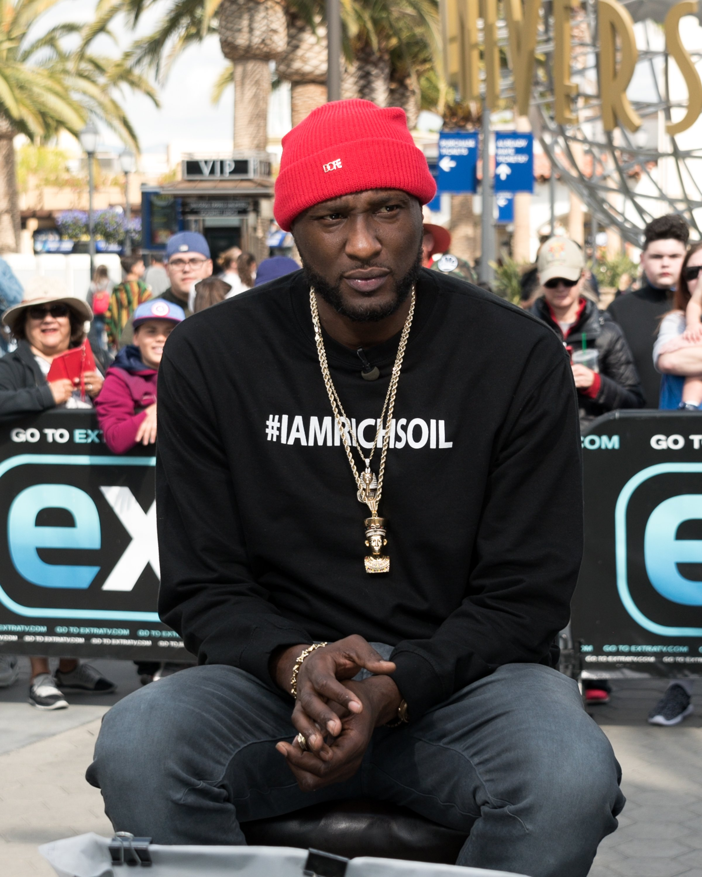 """Lamar Odom visits """"Extra"""" at Universal Studios Hollywood on February 22, 2018. 