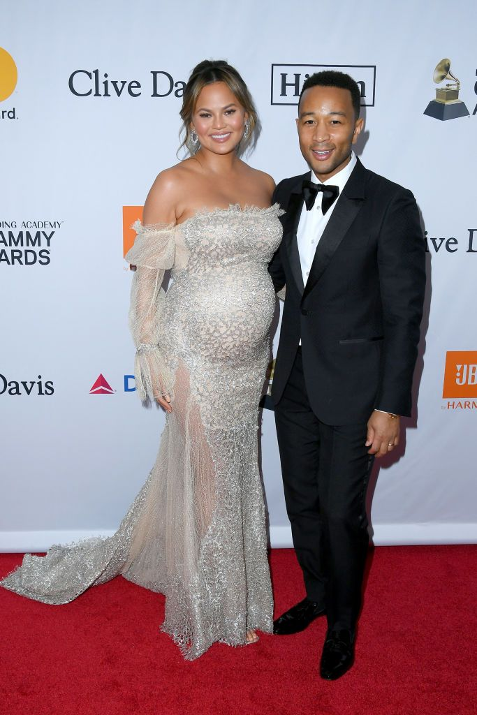 Chrissy Teigen and John Legend attend he Clive Davis and Recording Academy Pre-Grammy Gala and Salute to Industry Icons on January 27, 2018, in New York City.   Source: Getty Images