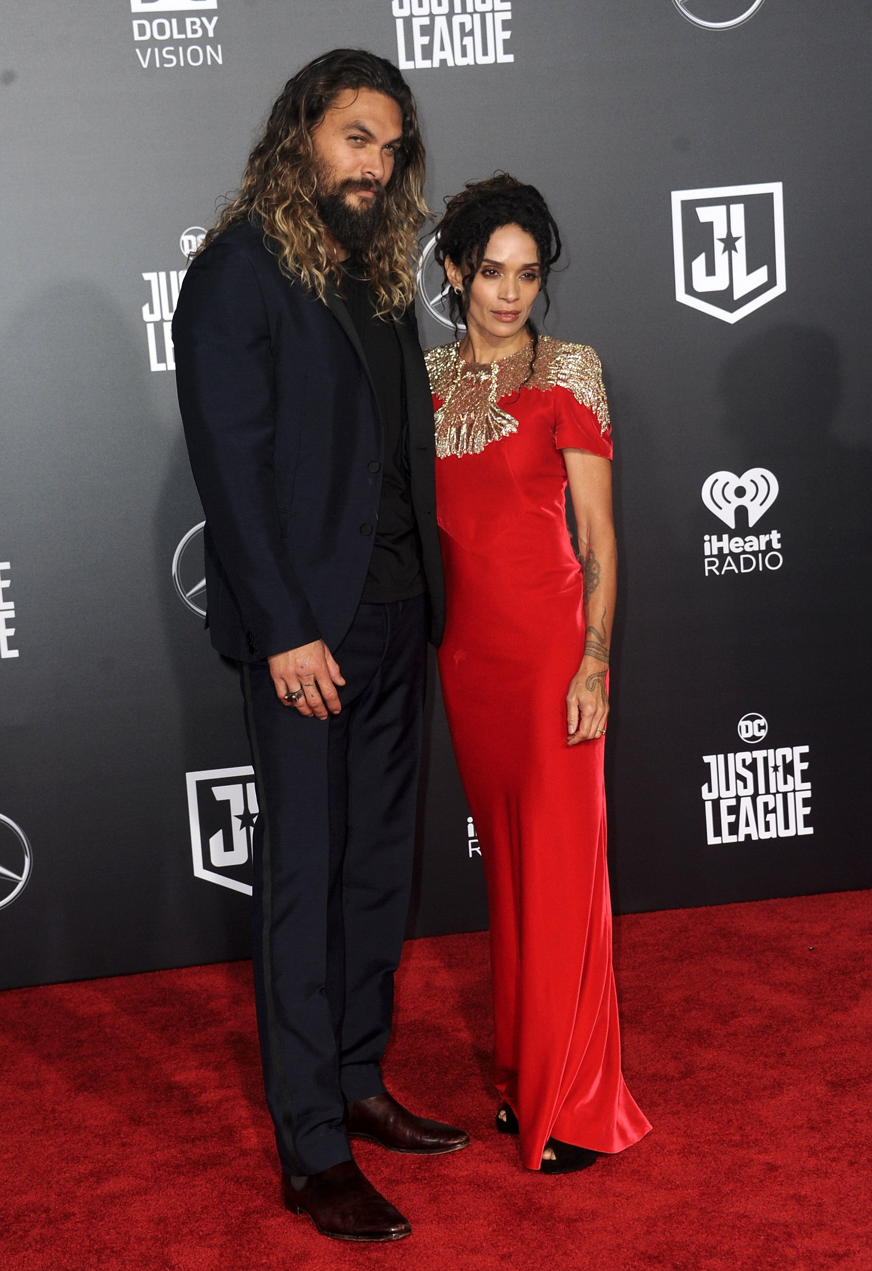 """Jason Momoa and Lisa Bonet attend the premiere of """"Justice League"""" in Hollywood, California on November 13, 2017 