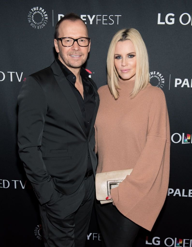 """Donnie Wahlberg and Jenny McCarthy at """"Blue Bloods"""" screening at The Paley Center for Media on October 16, 2017 in New York City. 