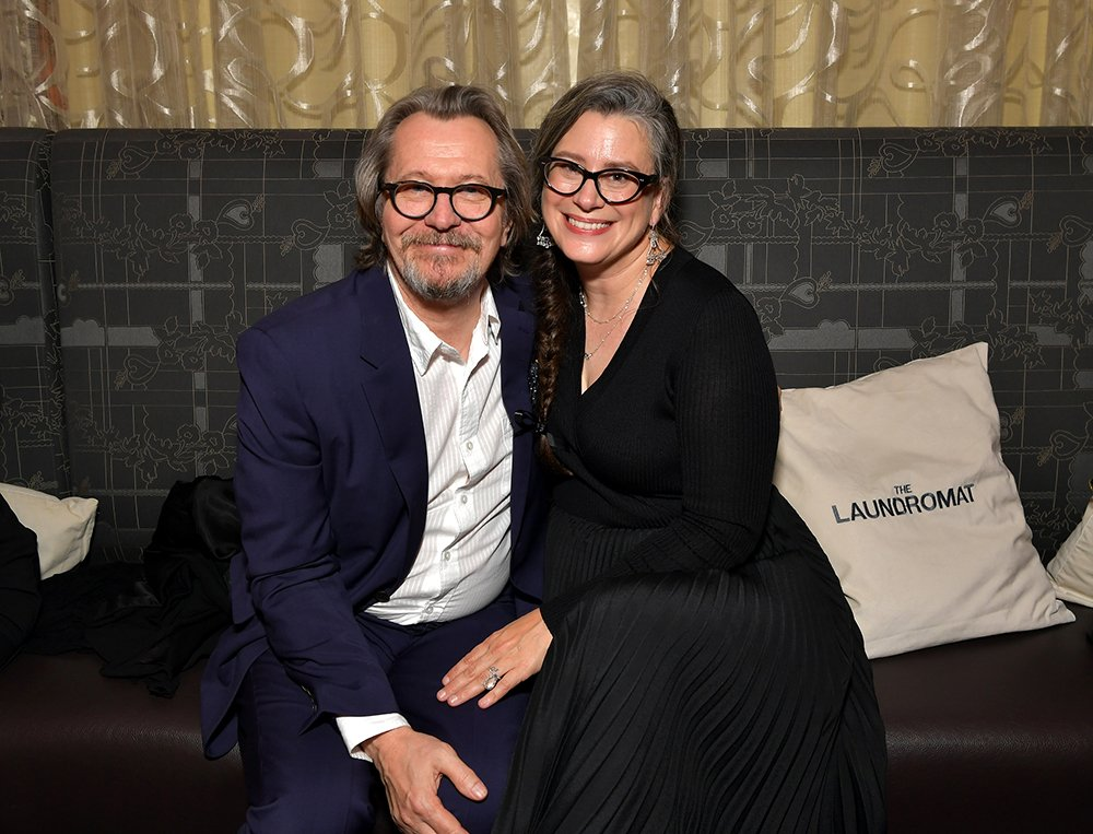 Gary Oldman and fifth wife Gisele Schmidt attending the North American Premiere of 'The Laundromat' in Toronto, Canada in 2020. I Image: Getty Images.