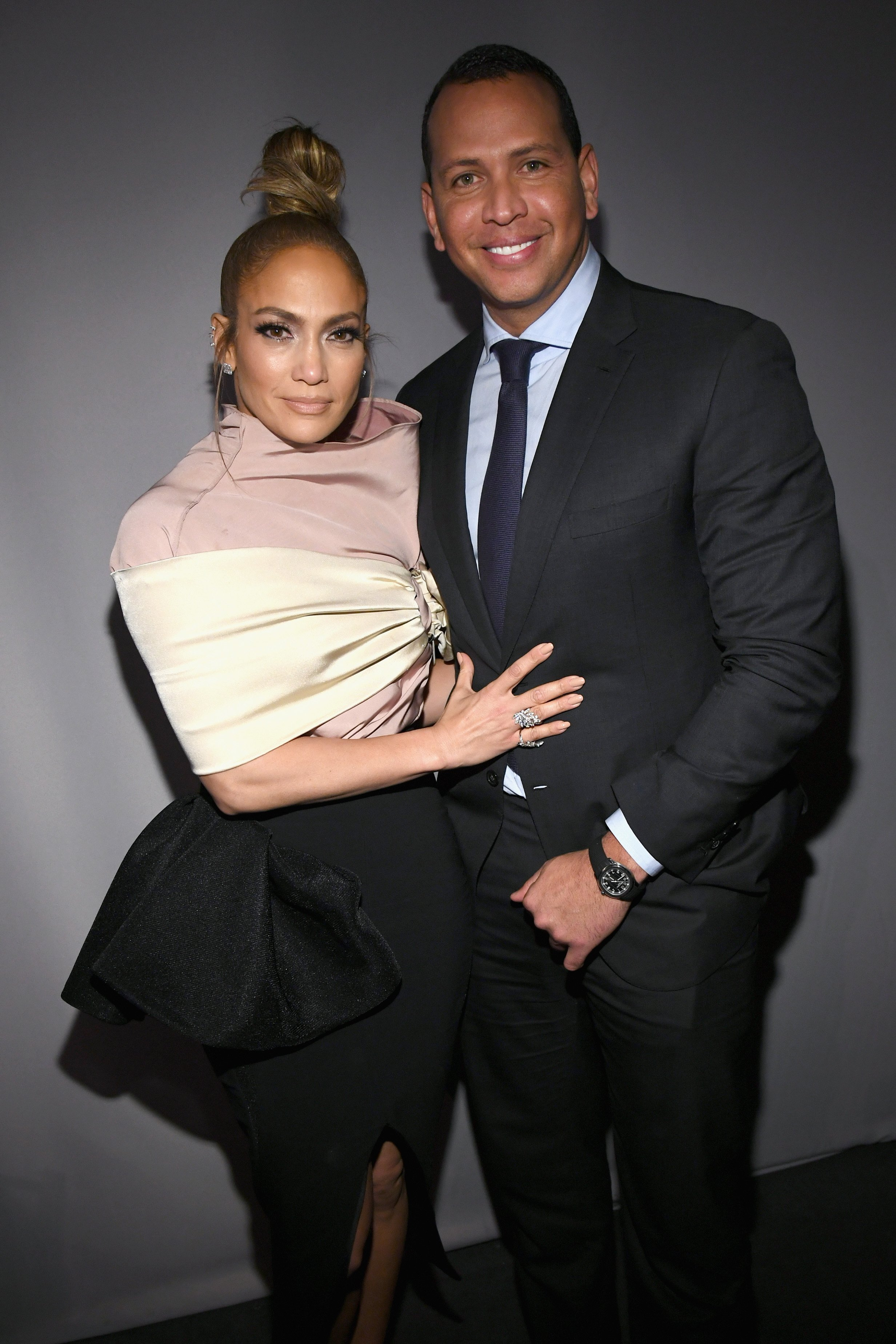 Jennifer Lopez and Alex Rodriguez attend ELLE's 25th Annual Women In Hollywood Celebration on October 15, 2018, in Los Angeles, California. | Source: Getty Images.