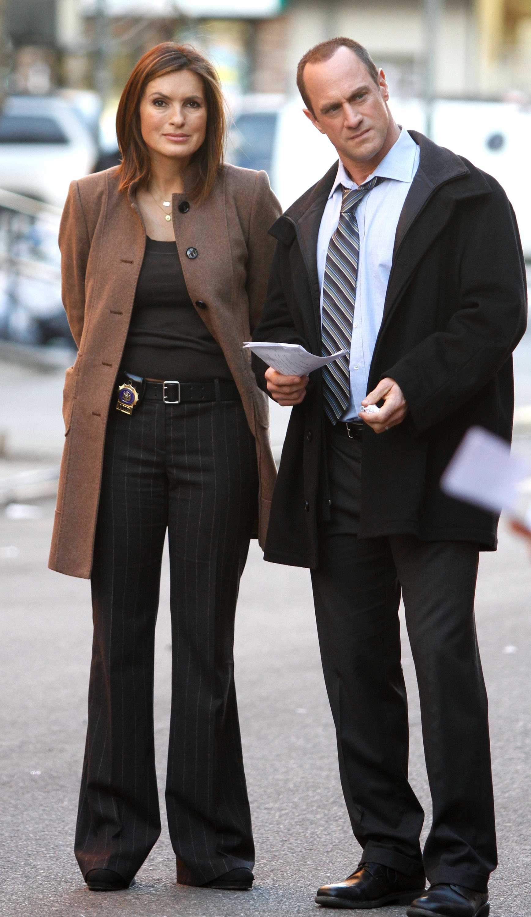 """Mariska Hargitay and Chris Meloni are seen working on the set of the NBC TV Show """"Law and Order SVU"""" in Harlem on March 17, 2010 in New York 