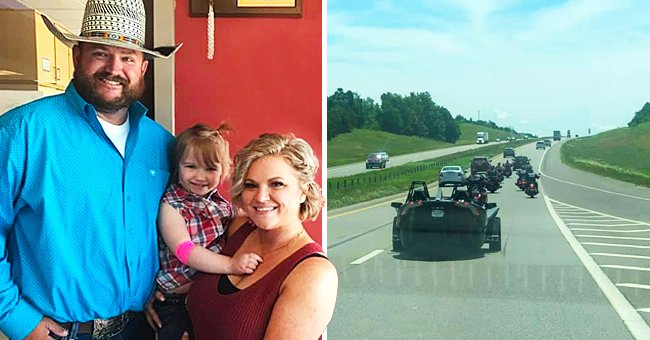 4-year-old Shyanna Jonas who just completed her chemotherapy treatment and a photo of her biker escort. | Photo: facebook.com/Shyanna's Glory Through HLH