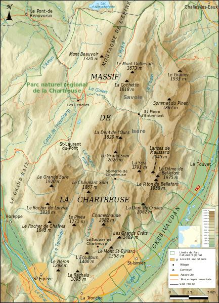 Carte du Massif de la Chartreuse | Wikimedia Commons