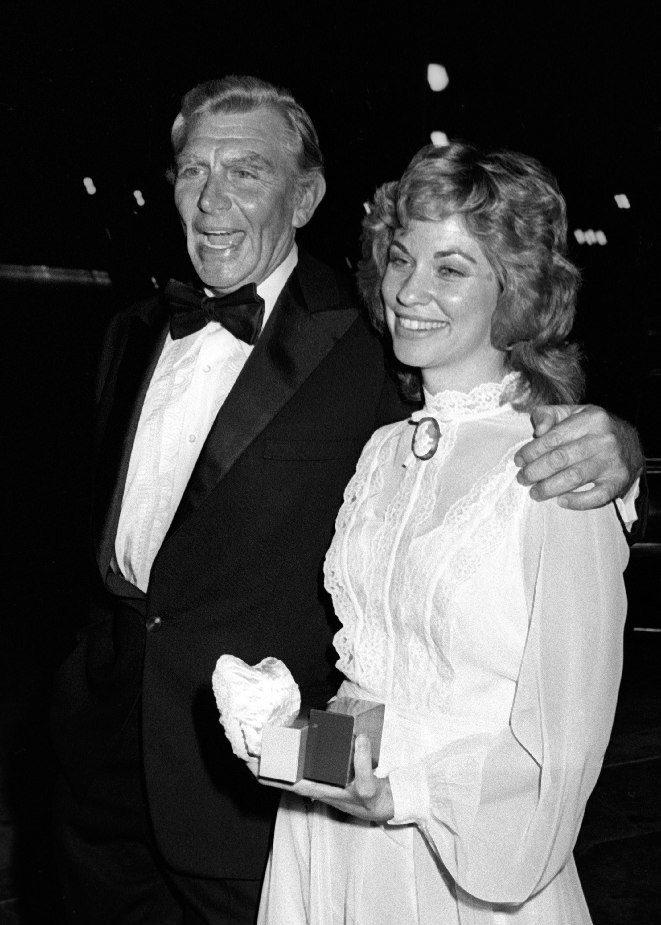 Andy Griffith and wife Cindi Knight attend the party for 33rd Annual Primetime Emmy Awards on September 13, 1981, in Los Angeles, California.   Source: Getty Images