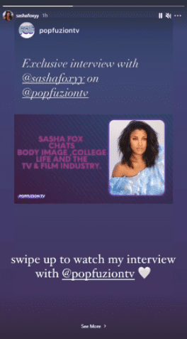 Sasha Fox shares a picture to urge her fans to watch her interview with PopfuzionTV. | Photo: Instagram/Sashafoxxy