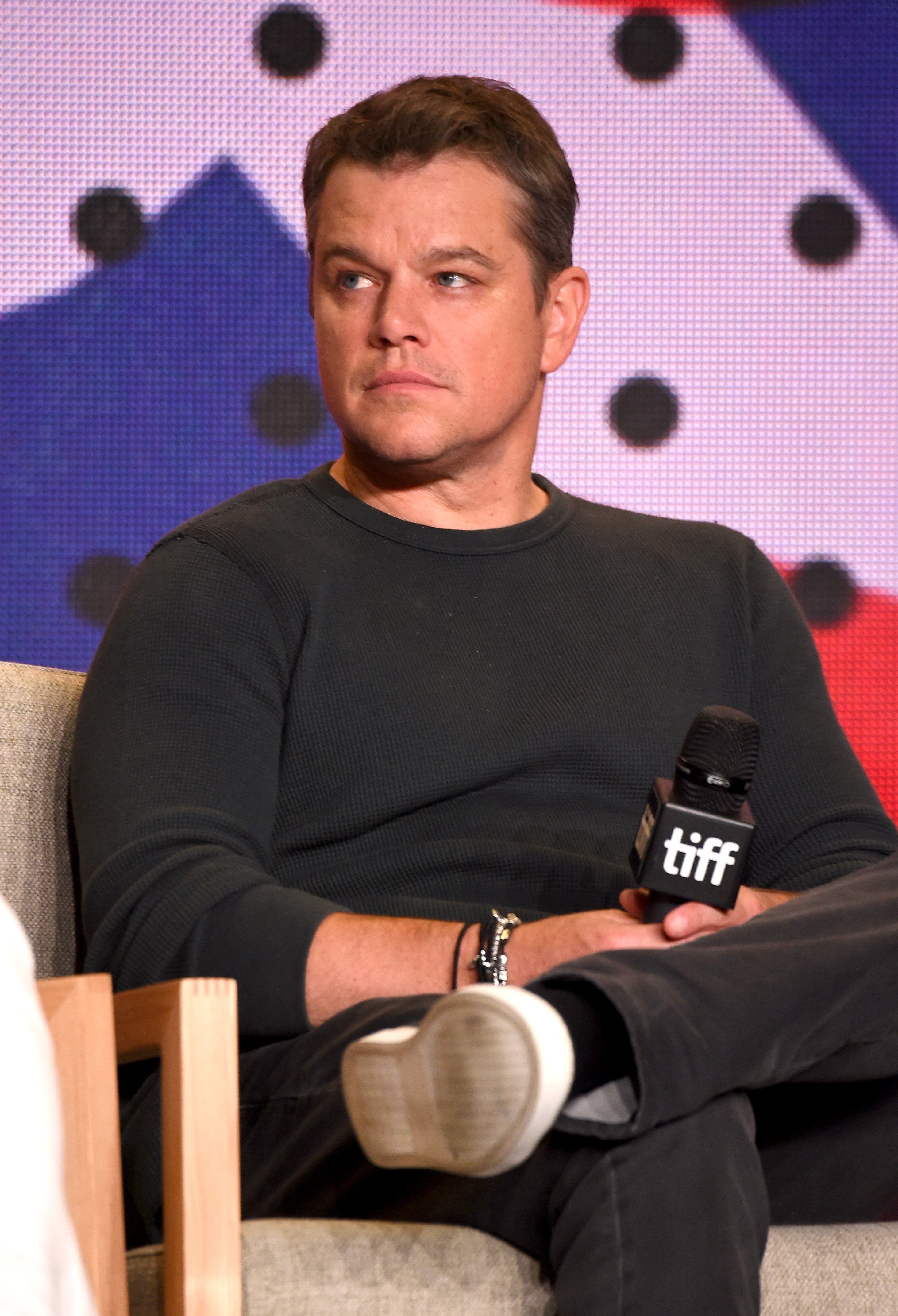 """Matt Damon speaks onstage during the """"Downsizing"""" press conference during the 2017 Toronto International Film Festival at TIFF Bell Lightbox on September 10, 2017 in Toronto, Canada 