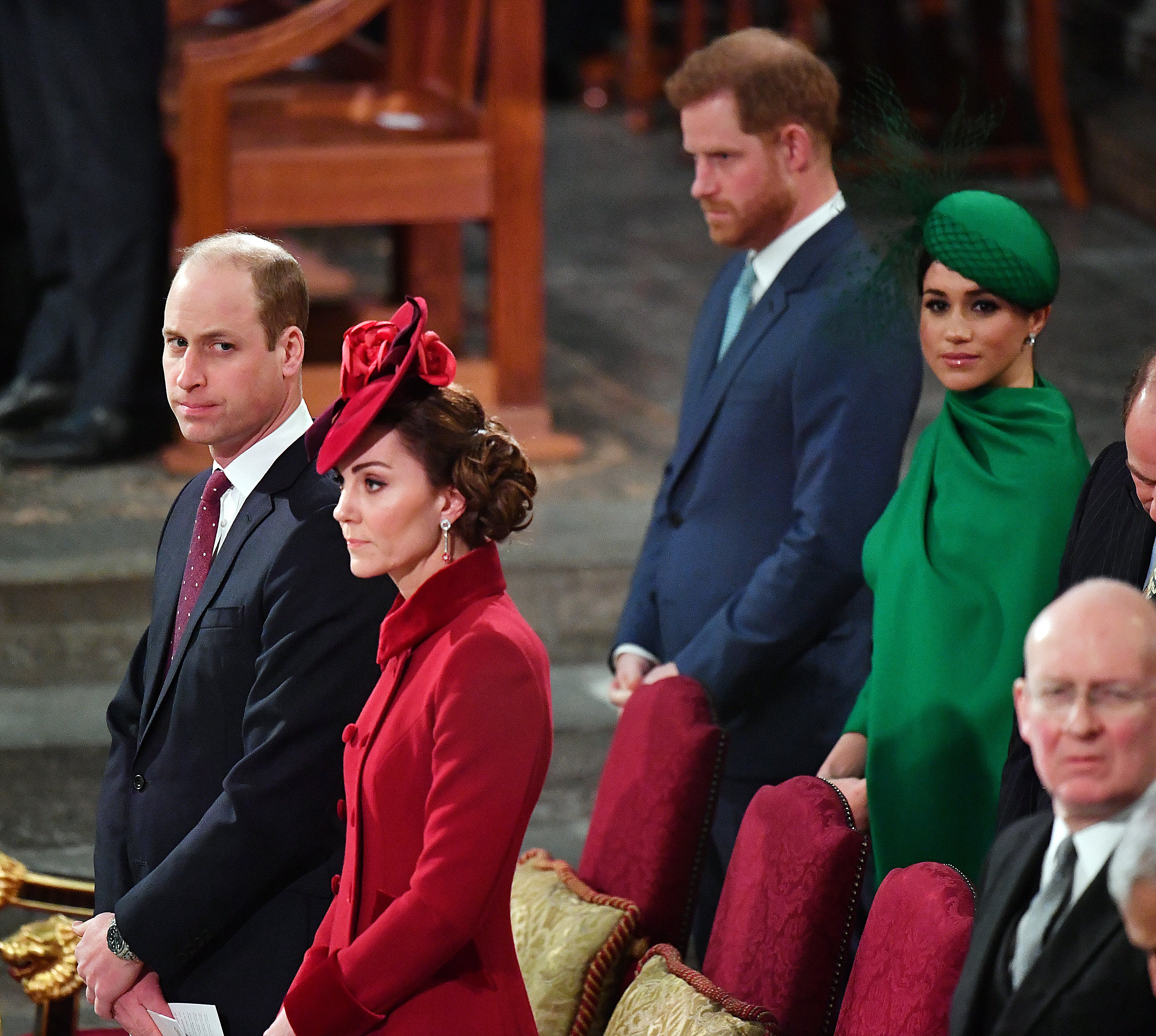 Prince William, Kate Middleton, Prince Harry, and Meghan Markle attend the Commonwealth Day Service 2020 on March 9, 2020   Photo: Getty Images
