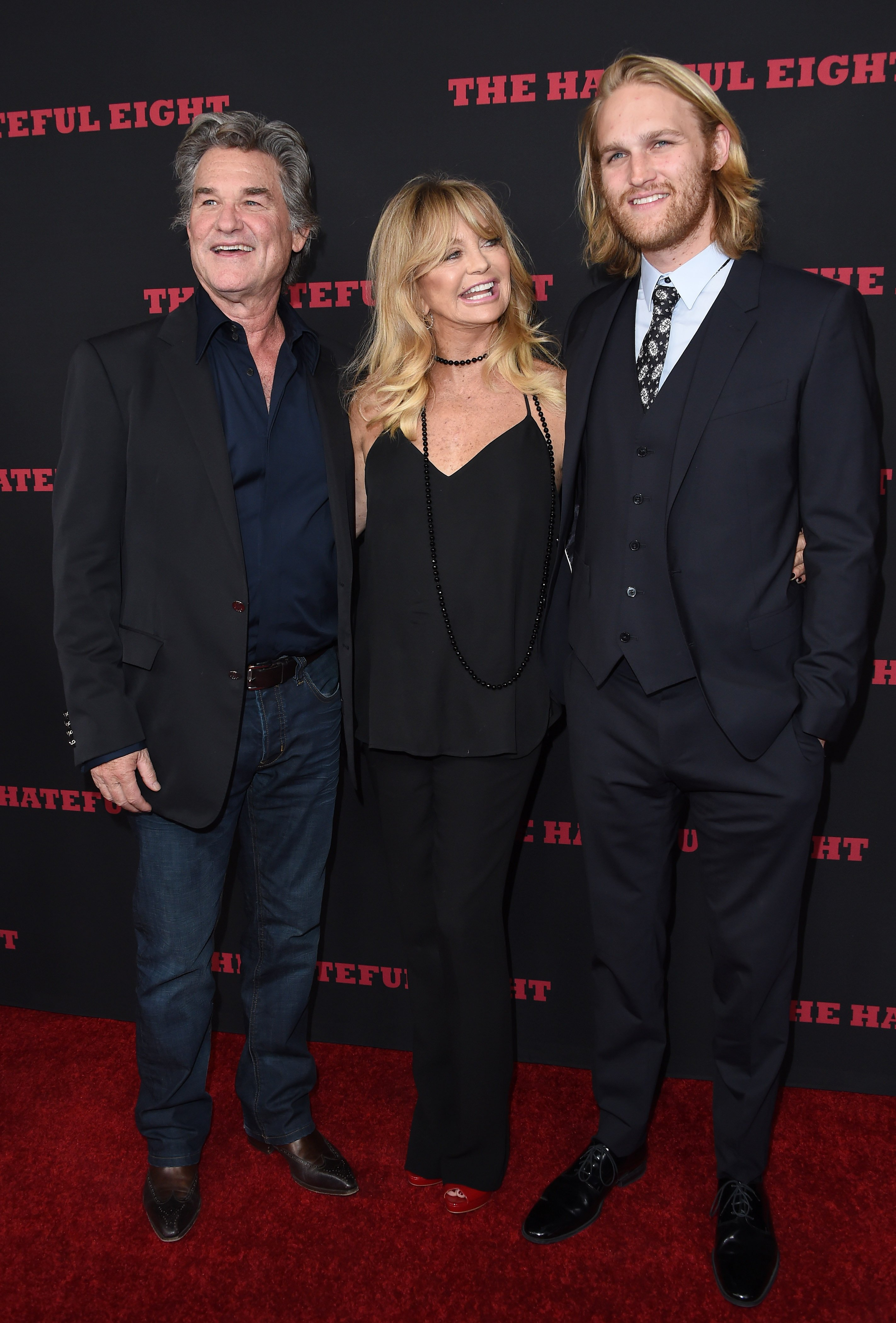 Kurt Russell, Goldie Hawn and Wyatt Russell arrive at the Los Angeles Premiere of 'The Hateful Eight' at ArcLight Cinemas Cinerama Dome on December 7, 2015. | Source: Getty Images