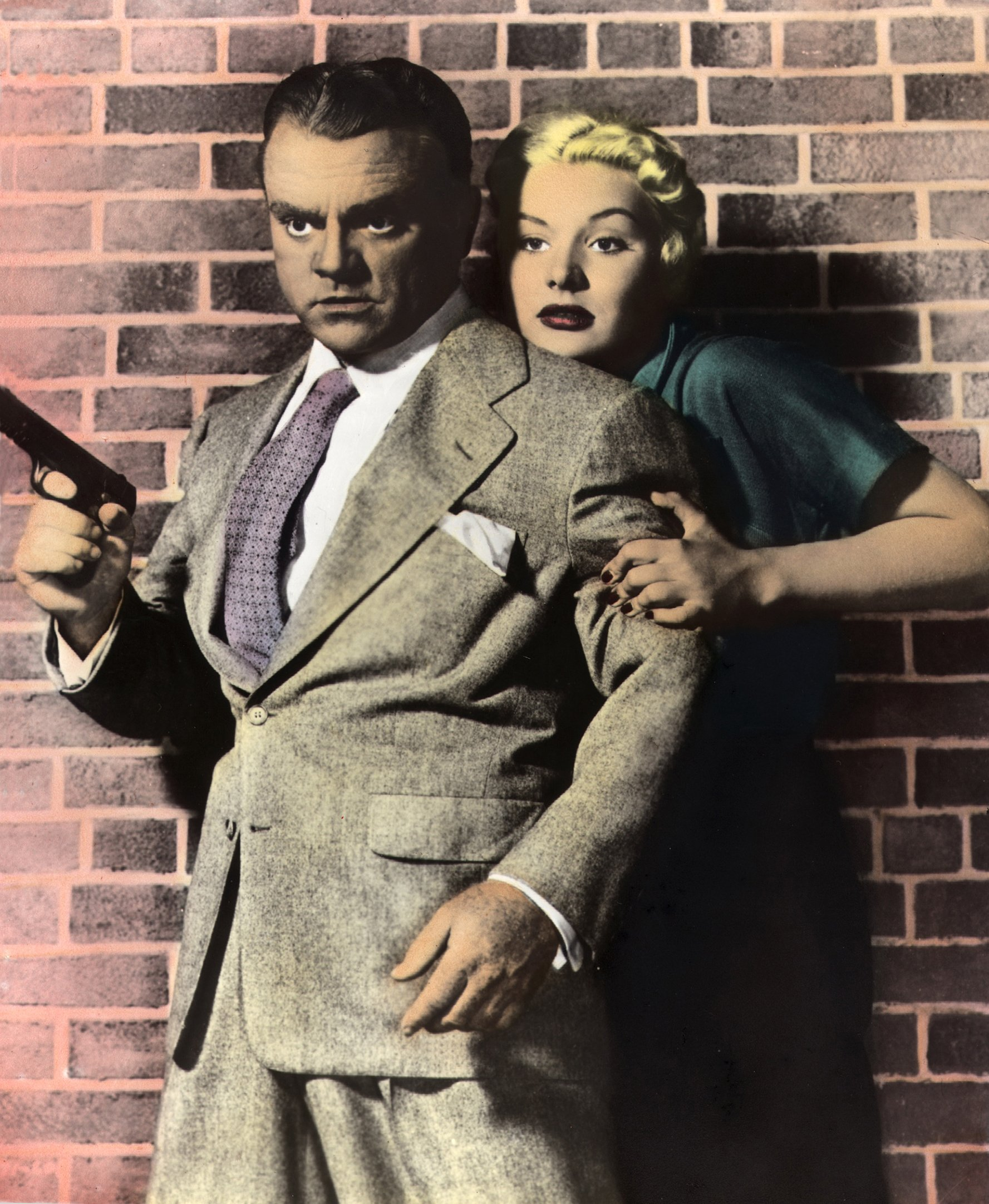 """A sketch of a still from the movie """"Kiss Tomorrow Goodbye"""" starring Barbara Payton and James Cagney, 1950. 