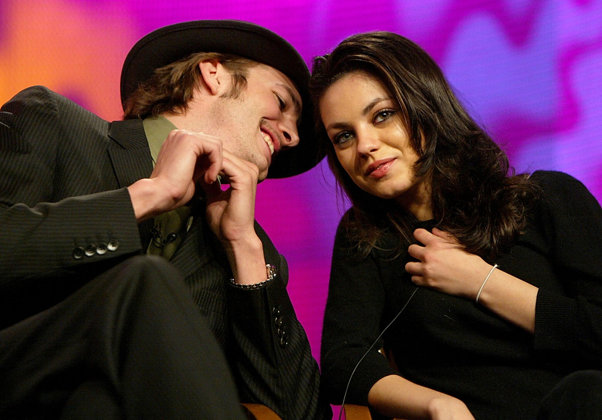 Ashton Kutcher (L) and Actress Mila Kunis during the FOX Television Critics Association Press Tour  | Getty Images