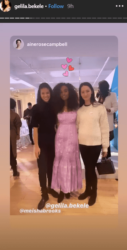 Model and activist, Gelila Bekele posing with two women at an event where she gave a speech about African Diaspora | Photo: Instagram/gelilabekele