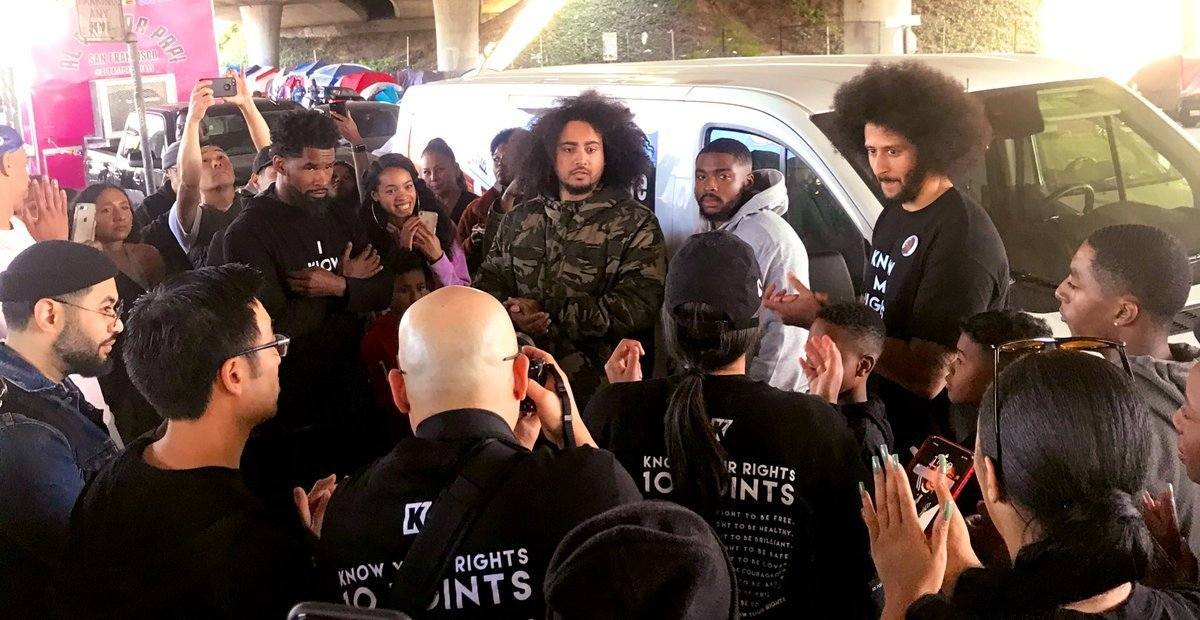 Colin Kaepernick and his group at Tent City in West Oakland | Source: Twitter / Equipto