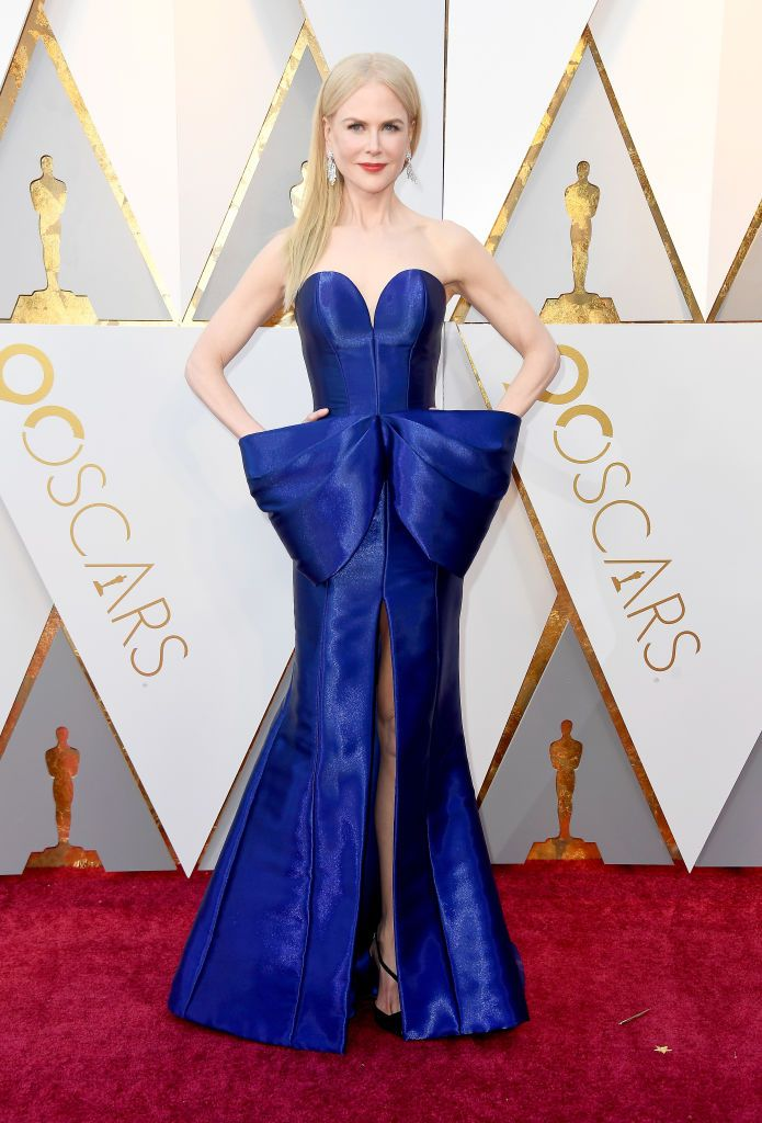 Nicole Kidman poses on the red carpet during her attendance at the Oscars.  Source   Photo: Getty Images