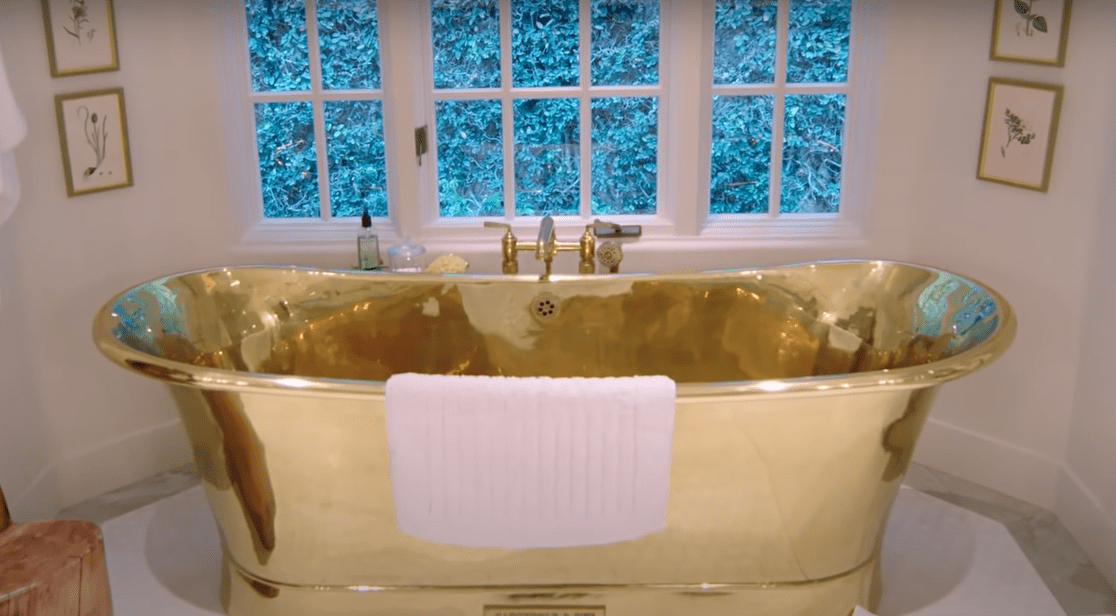 Gold bathtub in Kendall Jenner's Los Angeles home.   Source: YouTube.com/ArchitecturalDigest