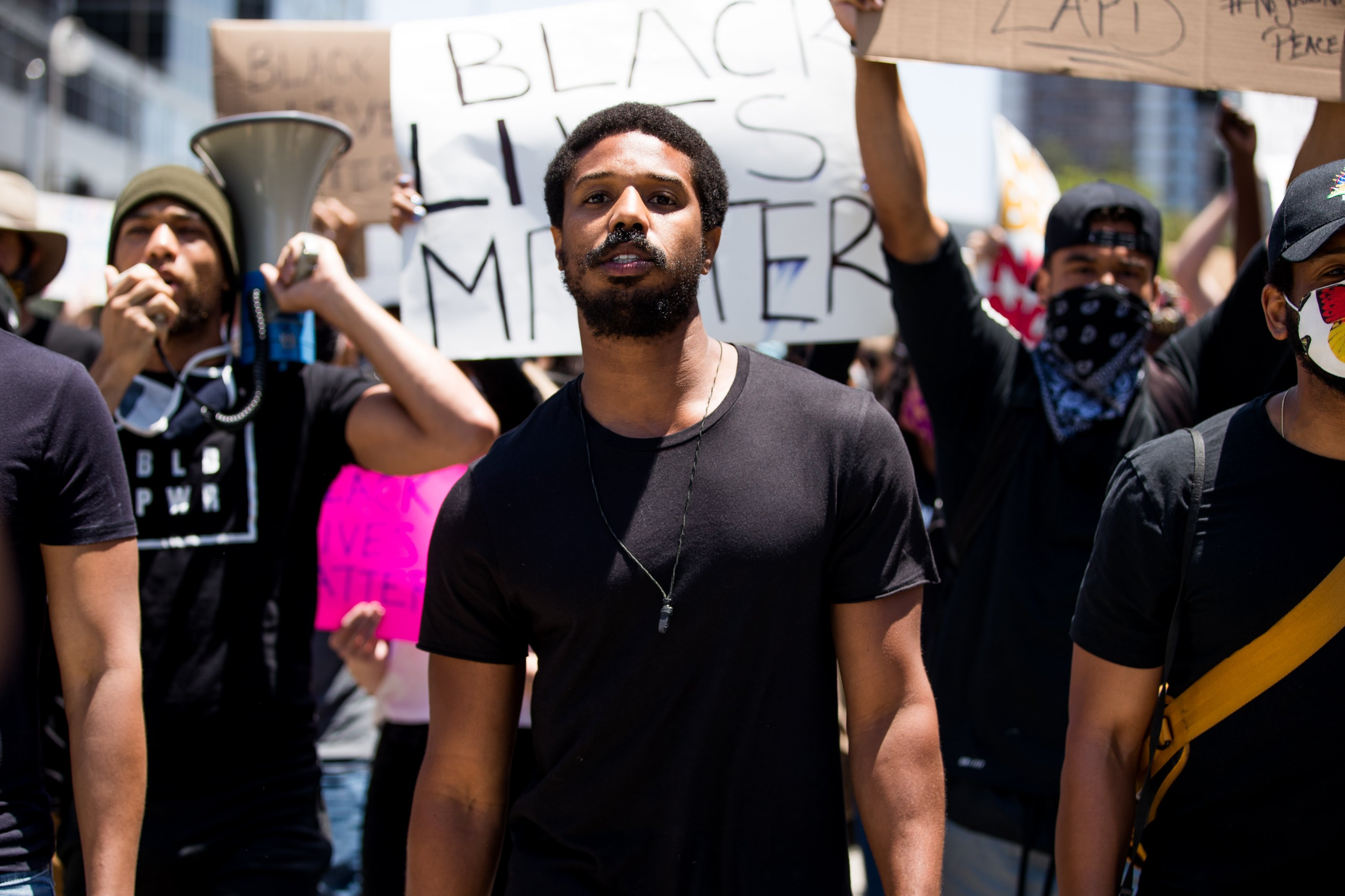 Michael B. Jordan participating in the Hollywood talent agencies march to support Black Lives Matter protests in Beverly Hills, California, in June 2020. | Image: Getty Images.