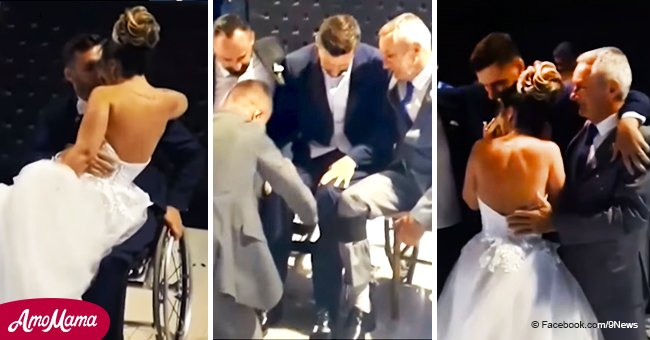 Paralyzed groom performs emotional wedding dance with help from his brother and dad