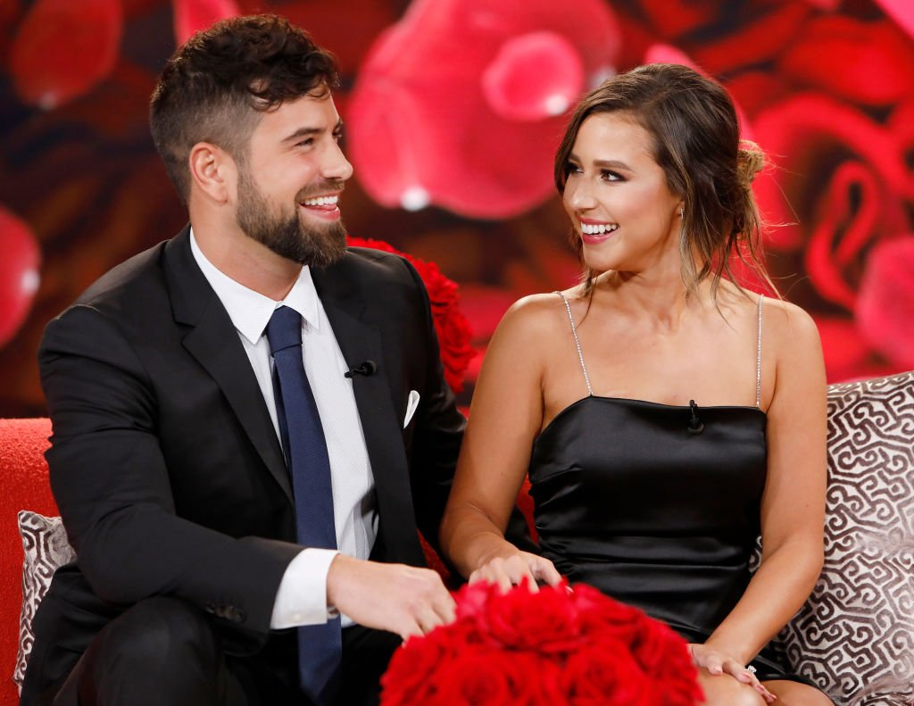 """Katie Thurston and Blake Moynes during an episode of """"Jimmy Kimmel Live!"""" on August 9, 2021. 