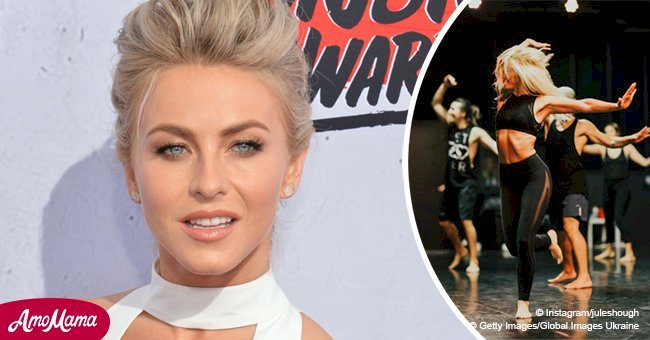 Julianne Hough flaunts her envious abs and visible ribs during a dance routine