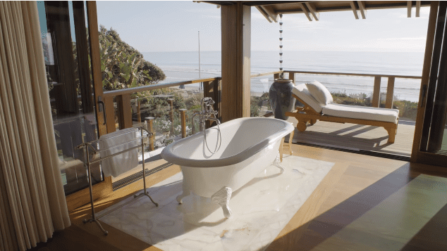Pierce Brosnan and Keely Brosnan's Malibu mansion: view from the master bathroom   Photo: YouTube/Architectural Digest