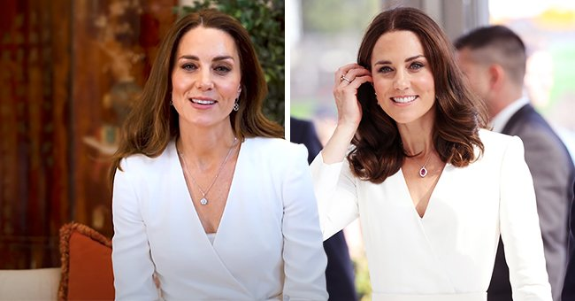 Kate Middleton Stuns in a White Alexander McQueen Dress and $12,350 Diamond Necklace