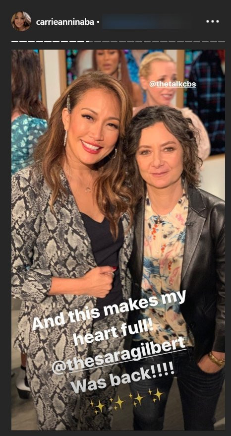 """Co-host, Carrie Anninaba and Sara Gilbert on set of """"The Talk""""   Photo: instagram.com/carrieanninaba"""