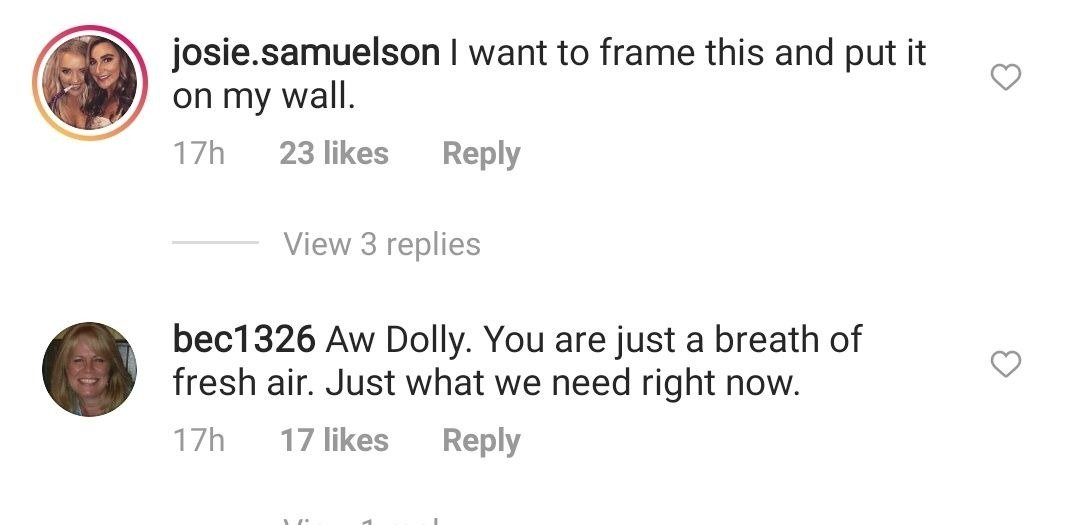 Screenshot of comments from Dolly Parton's Instagram post. | Photo: Instagram/Dolly Parton