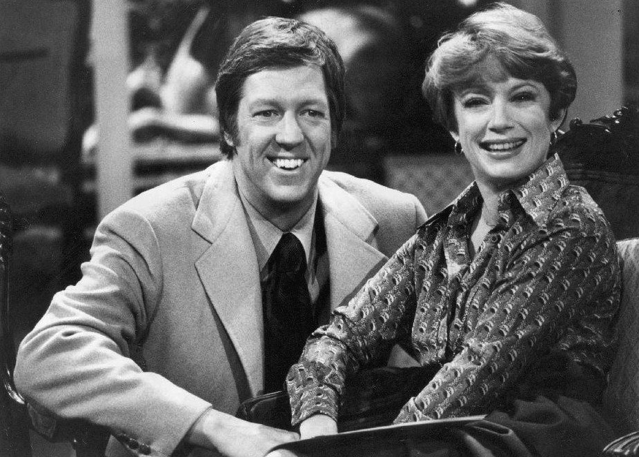 """Photo of David Hartman and Nancy Dussault from the television program """"Good Morning America,"""" circa 1970s. 
