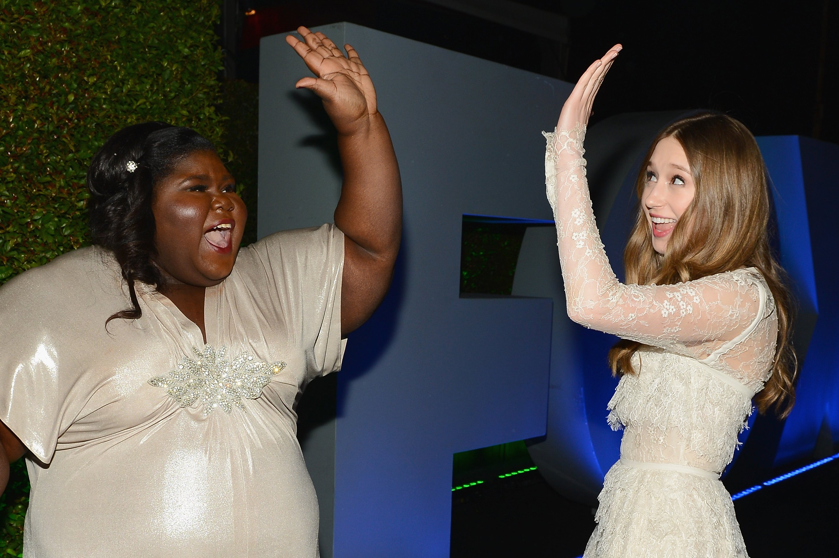Actresses Gabourey Sidibe and Taissa Farmiga attend the Fox And FX's 2014 Golden Globe Awards Party in Beverly Hills, California on January 12, 2014   Photo: Getty Images