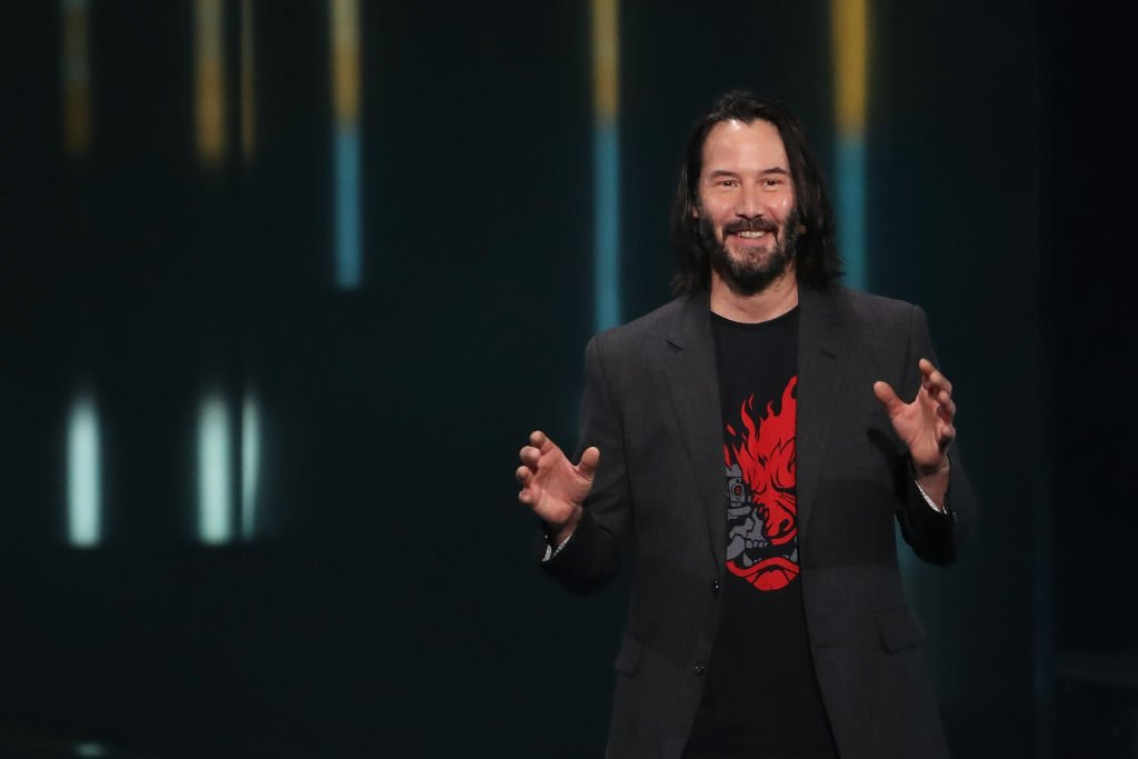 "Keanu Reeves speaking about ""Cyberpunk 2077"" during the Xbox E3 2019 briefing at The Microsoft Theatre. 