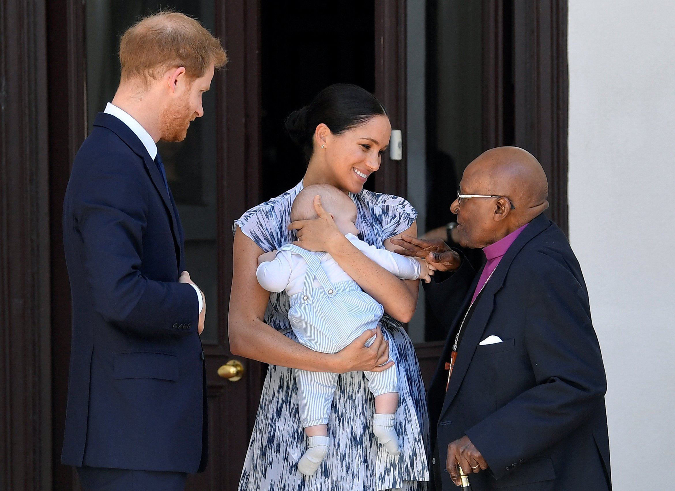 Prince Harry, Duke of Sussex, Meghan Markle, Duchess of Sussex and Archie Mountbatten-Windsor meet Archbishop Desmond Tutu on September 25, 2019 in Cape Town, South Africa.   Source: Getty Images