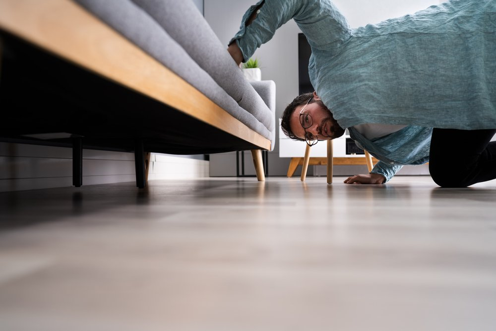 A photo of a man searching under a chair   Photo: Shutterstock
