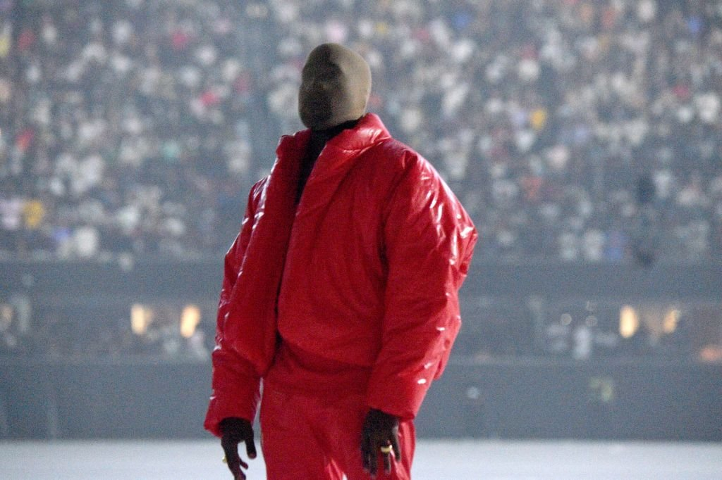 """Kanye West at the """"DONDA by Kanye West"""" listening party in the Mercedes Benz Stadium in Atlanta, July 22 2021   Photo: Getty Images"""