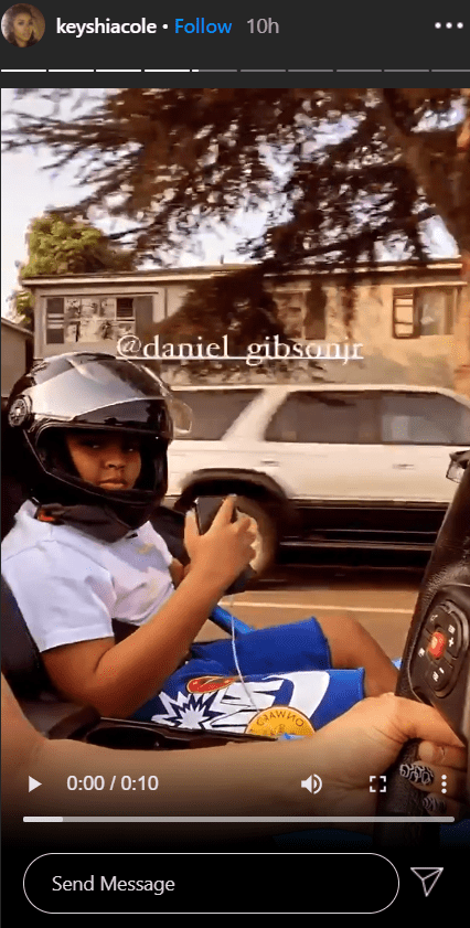 Stills from a video of Keyshia Cole and her son, Daniel Gibson Junior together on a car ride. | Photo: Instagram/@keyshiacole