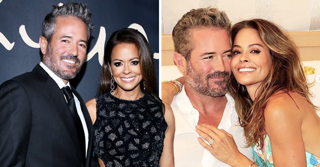 Scott Rigsby and Brooke Burke on November 11, 2019 in Beverly Hills, California (left) and the couple snuggled up with Burke's engagement ring in display (right). | Photo: Getty Images and Instagram/@brookeburke