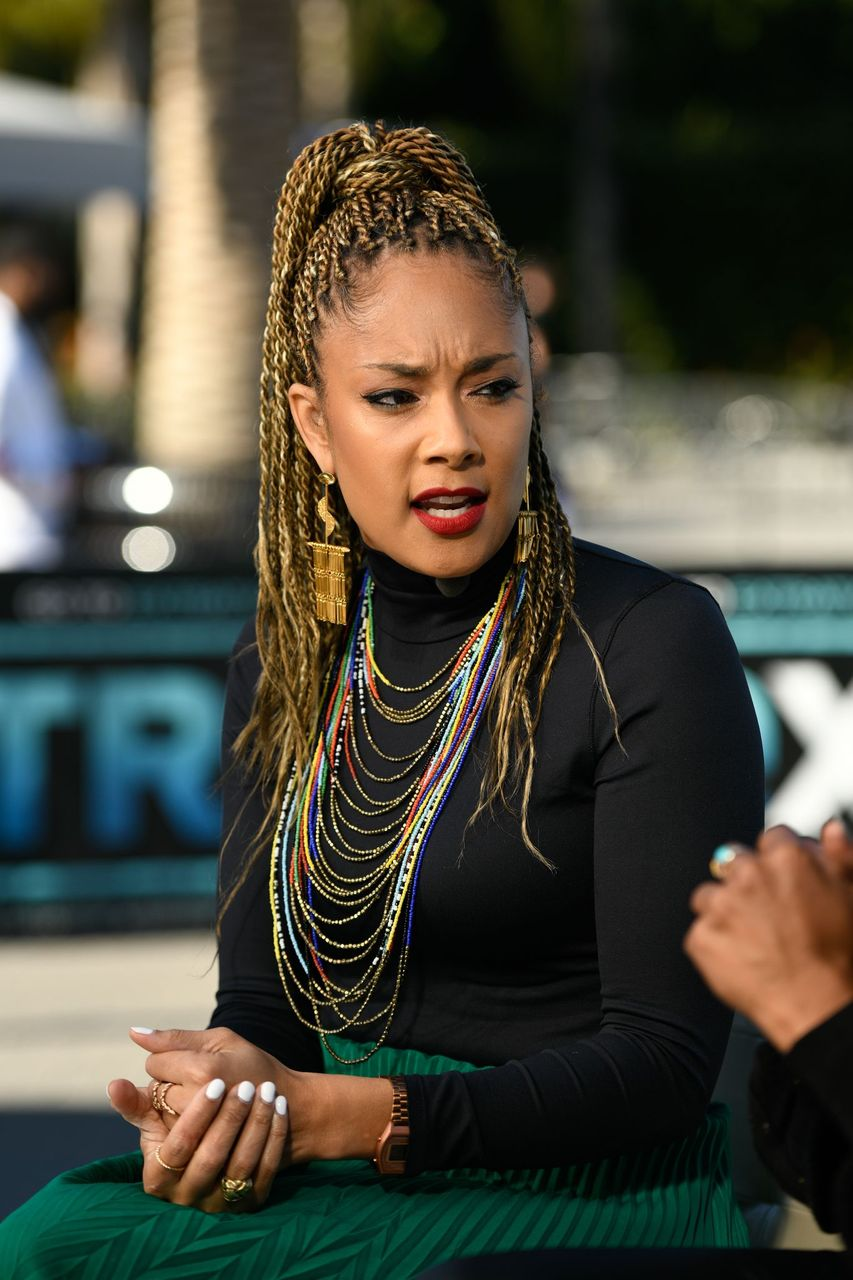 """Amanda Seales visits """"Extra"""" at Universal Studios Hollywood on February 11, 2019 in Universal City, California. 