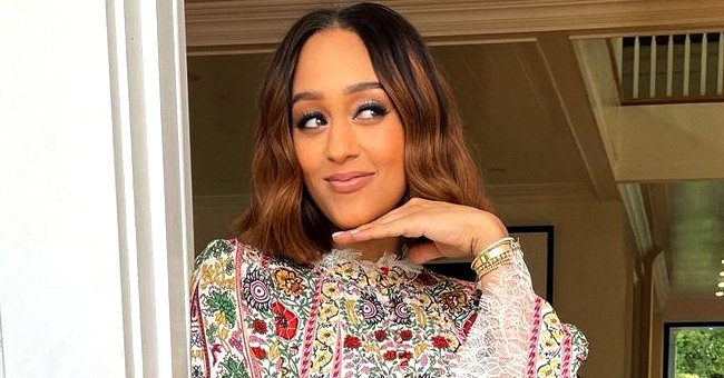 Tia Mowry Looks Amazing After Her Weight Loss as She Poses In an Intricately Printed Mini Dress