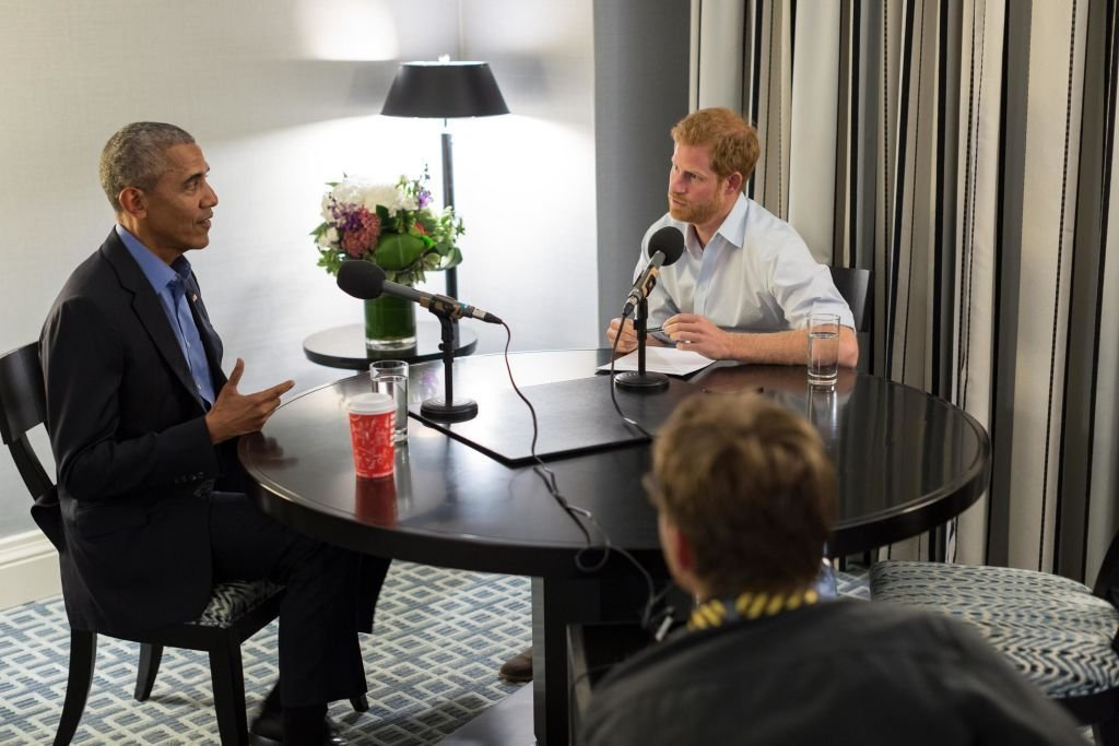 """Prince Harry interviewing Barack Obama as part of his guest editorship of BBC Radio 4's """"Today"""" program in September 2017. 