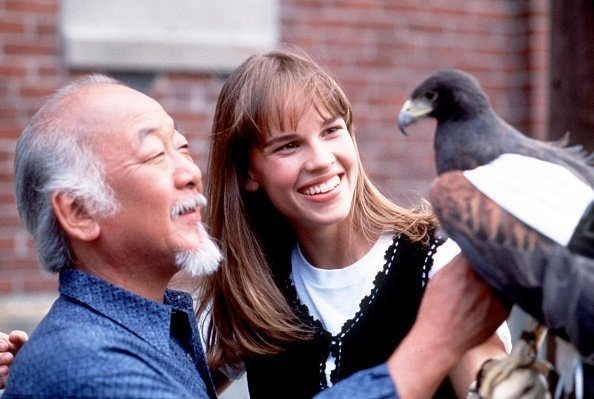 Pat Morita and Hilary Swank, circa 1990s | Photo: Getty Images