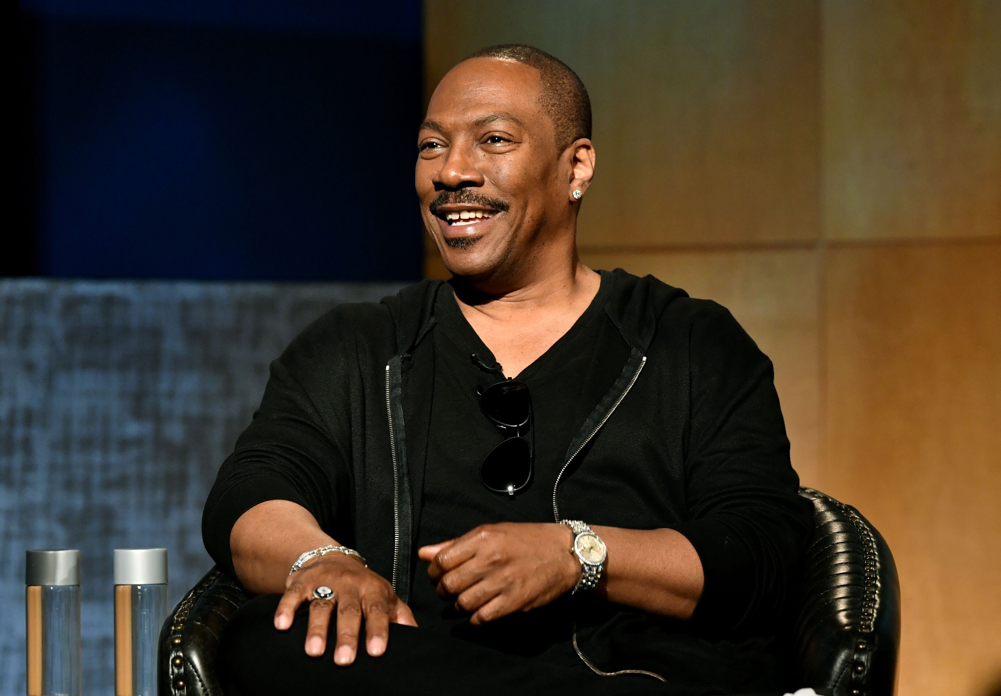 "Eddie Murphy speaking onstage during the LA Tastemaker event for ""Comedians in Cars."" 