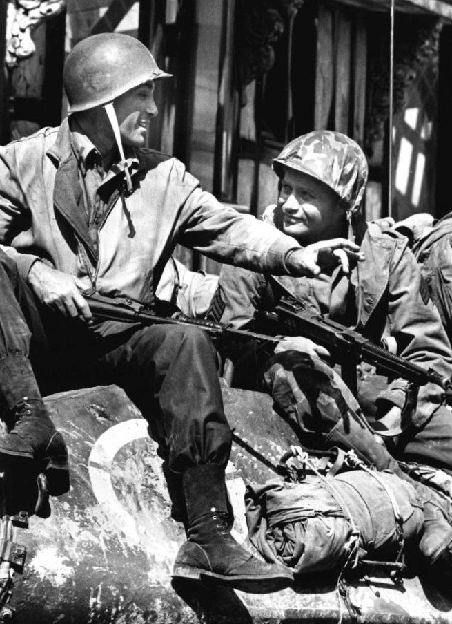 """Rick Jason and Vic Morrow from the premiere of the television program """"Combat"""" in 1962. 