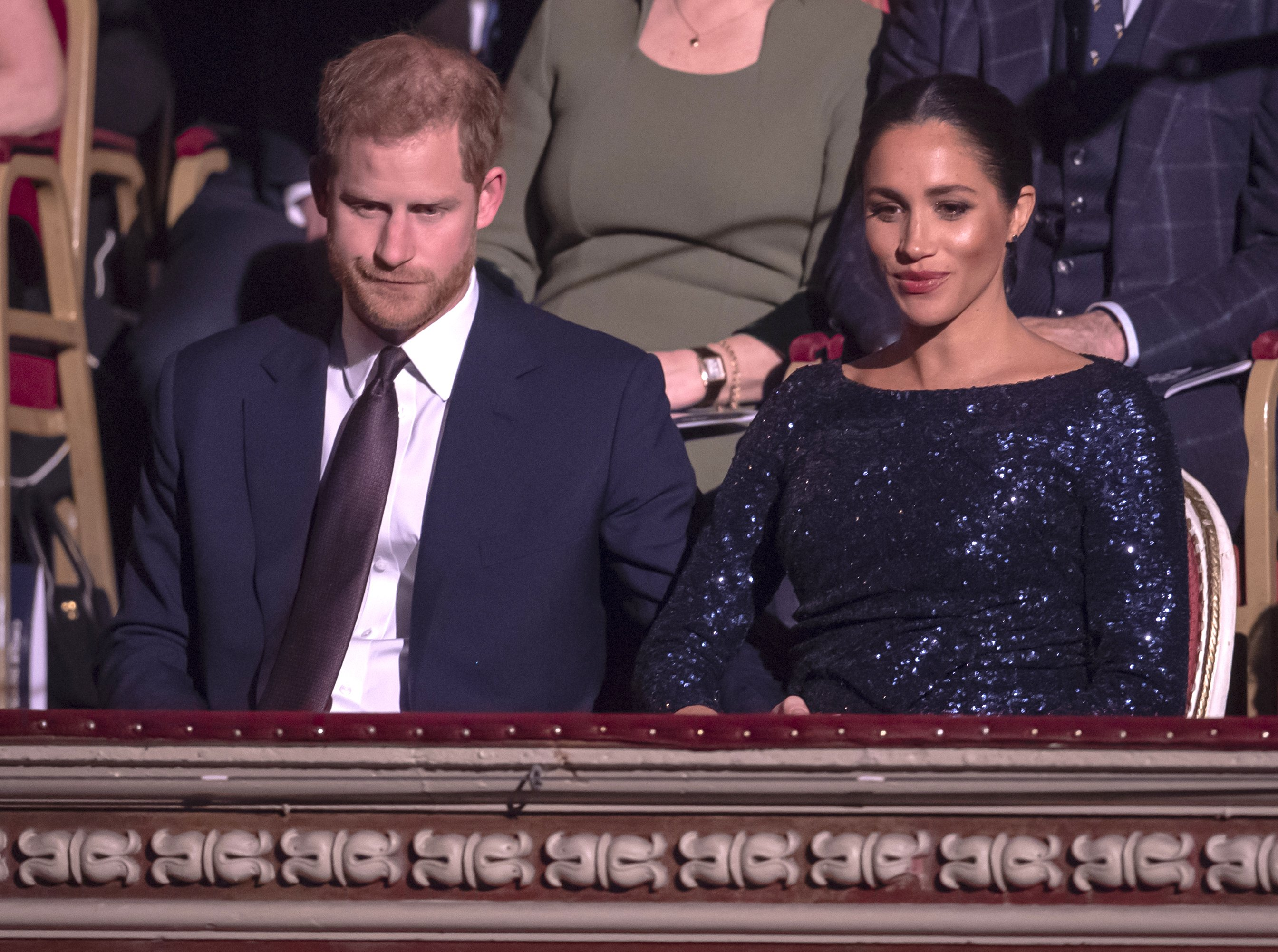 """Prince Harry, Duke of Sussex, and Meghan Markle, Duchess of Sussex, attending the Cirque du Soleil premiere of """"TOTEM"""" at the Royal Albert Hall on January 16, 2019 