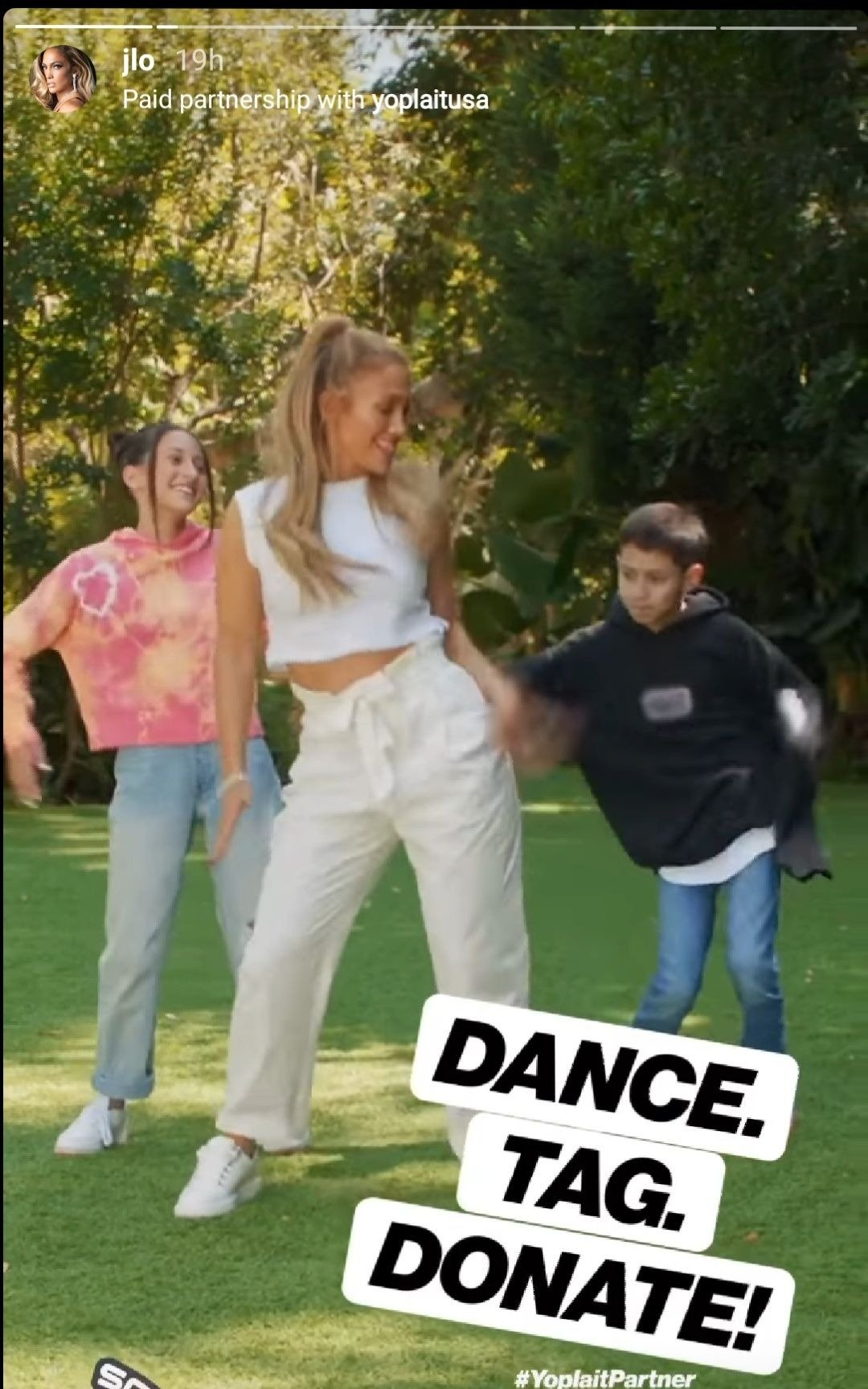 "Jennifer Lopez with kids Emme and Max dancing to her song ""Pa' Ti"" in late September 2020 