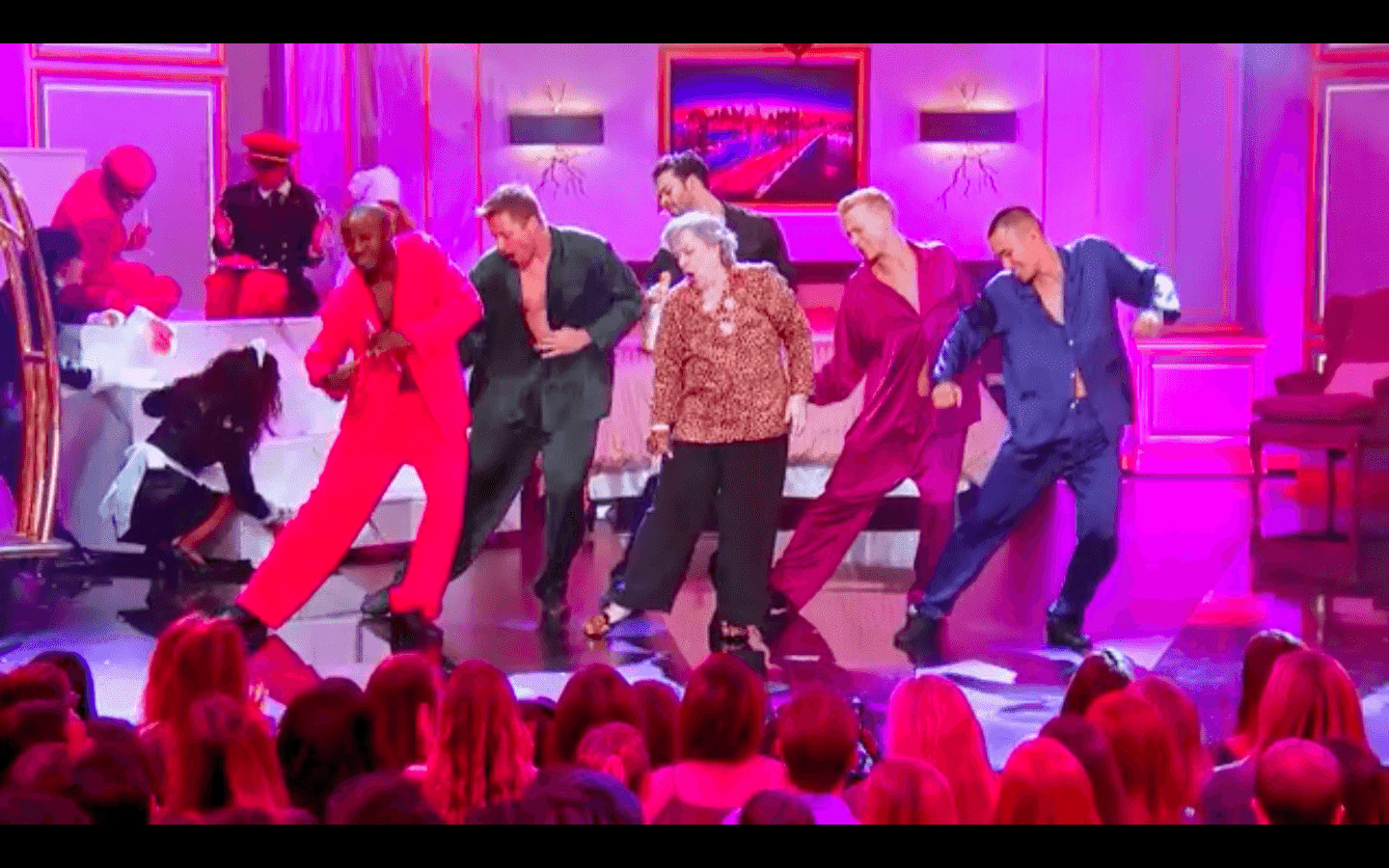 The 70-year-old Bates impresses with her dance moves. Image credit: Facebook/Lip Sync Battle.