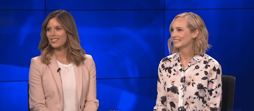 """Photo of an interview with actresses Candice King and Kayla Ewell discussing their podcast """"Directionally Challenged."""" 
